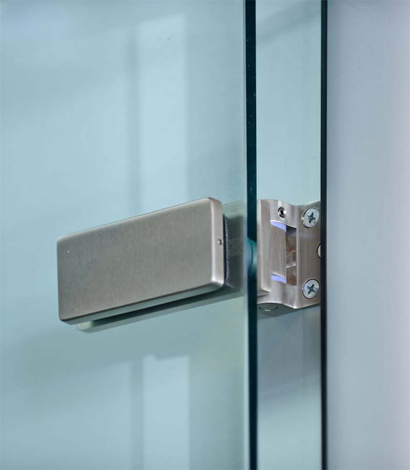 Brushed stainless lever and hinges for modular office for Frameless glass doors
