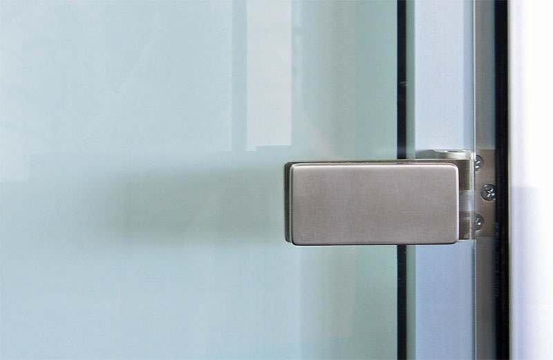 Brushed Stainless Lever And Hinges For Modular Office